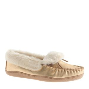 metallic shearling lodge moccassins